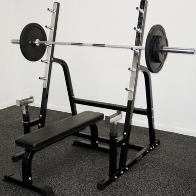 squat rack bench press