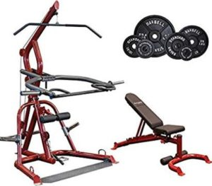Body-Solid GLGS100P4 Corner Leverage Gym with Bench and Iron Weight Set