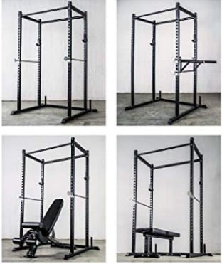 Power Rack with Optional Dip Attachment, Flat Bench, Adjustable Bench